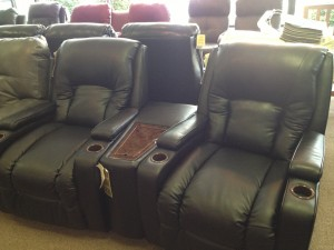 LANE Home Theater - Two seater with console wedge. Retails normally at $2485 for the set. CLOSEOUT FLOOR MODEL at 60% OFF $994