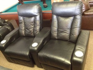 Coaster Home Theater. Two seater available as floor model discount. List price $675 per seat. Floor model closeout only: $395 per seat!